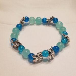 🎉HP!! 🐢 Men's bright blue stretch bracelet